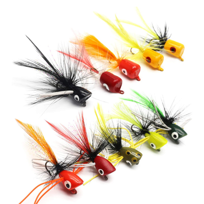 YZD Bass Popper Fly Kit de Moscas de Pesca